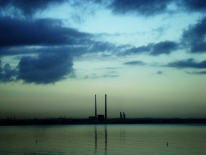 Poolbeg chimneys, the pigeon house, ESB, dublin sky bridge
