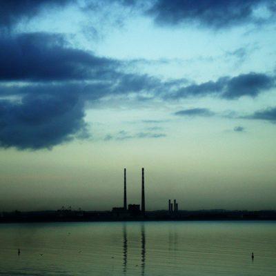 Poolbeg chimneys, the pigeon house, ESB, dublin sky bridge