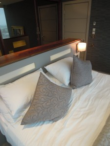 contemporary modern bedroom, illuminating headboard