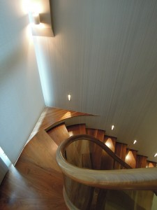 Contemporary hallway with walnut & birch accents