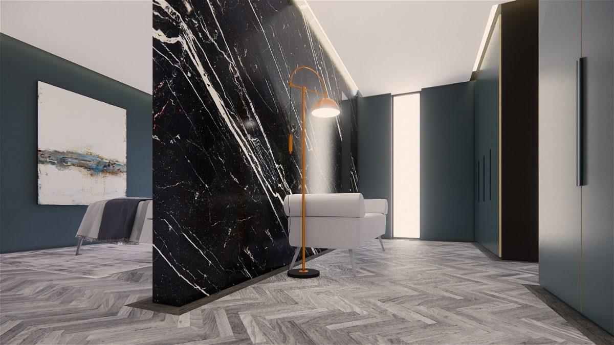Contemporary bedroom & walk in wardrobe