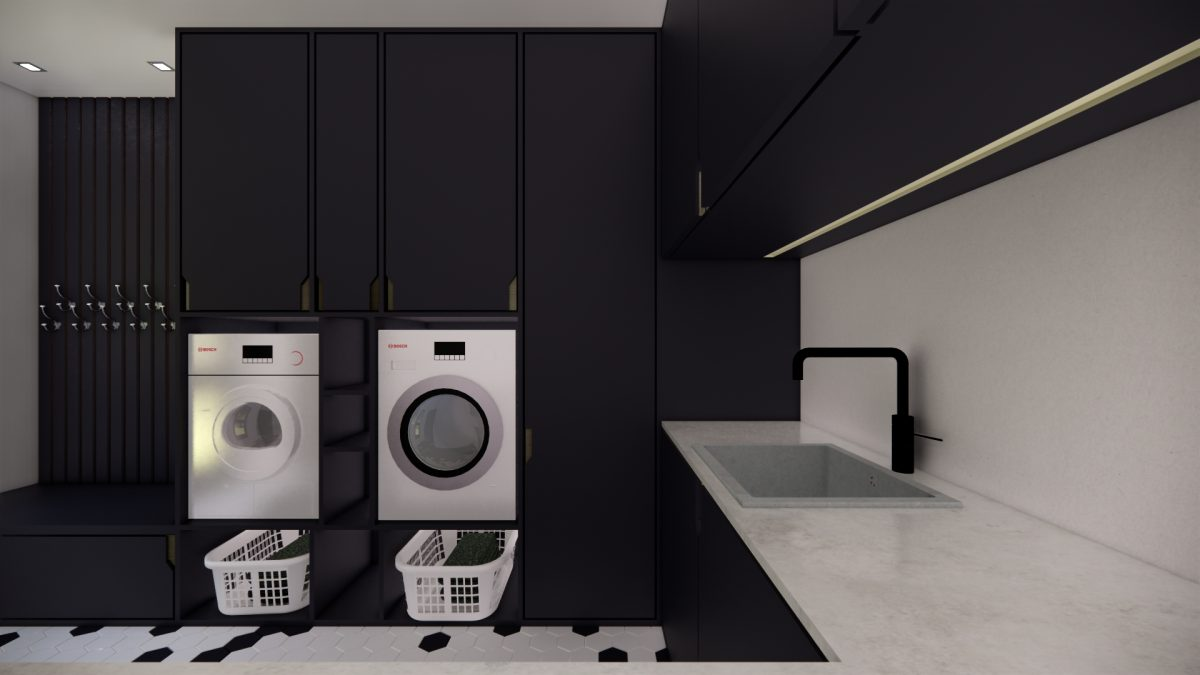 Stylish laundry design in Raven Black solutions for interiors
