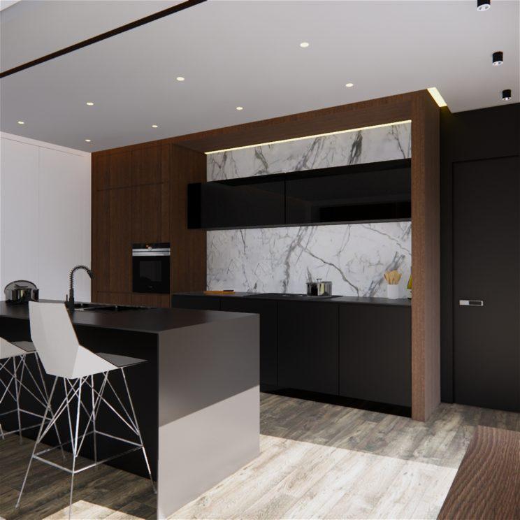 Contemporary minimalist walnut and black kitchen