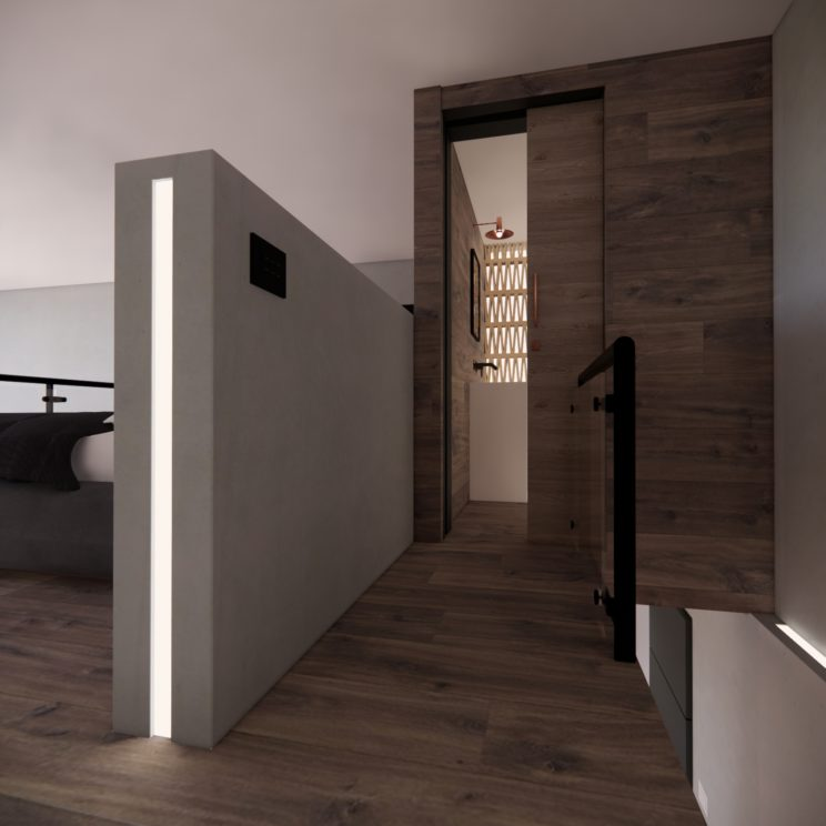 polished cement & wood interiors