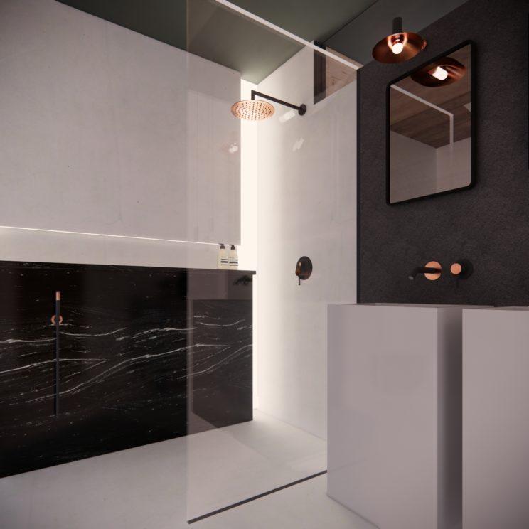 Contemporary minimalist marble bathrooms